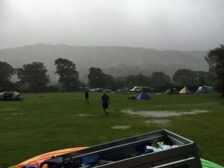 Run through the rain bloke with a stripy shirt on!